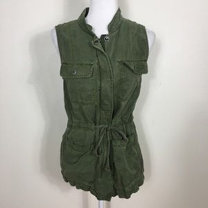 Sanctuary Army Green Zip Up Military Vest
